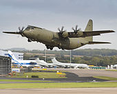 Image of a Hercules C130 aircraft, taking off from RAF Brize Norton. MOD 45157284.jpg