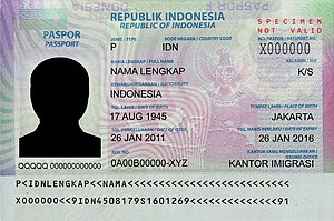 Passport validity - Image: Indonesian passport data page