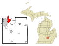 Ingham County Michigan Incorporated and Unincorporated areas East Lansing Highlighted.svg