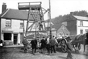 British Electric Traction - BET wagon used in the installation of overhead tram wires, at Sedgley, circa 1901