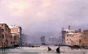 Ippolito Caffi - Snow and Fog on the Grand Canal (1840)