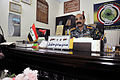 Iraqi Police Col. Hadi Hashish meets with U.S. Soldiers to discuss security and coordination concerns in the Basrah province at the Shat Al Arab District Headquarters in Tannumal, Iraq, March 13, 2011 110313-A-WO967-003.jpg