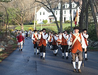 Patriots' Day - Acton Minutemen and citizens marching from Acton to Concord on Patriots Day 2012