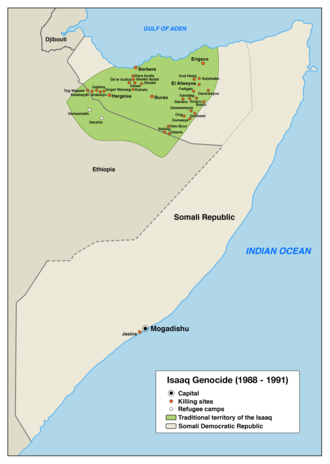 Isaaq genocide - Map of the sites related to the Isaaq genocide