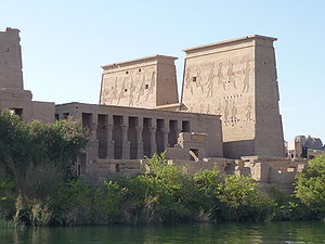 Pylon (architecture) - Temple of Isis first pylon, Philae, north-eastern (back) view