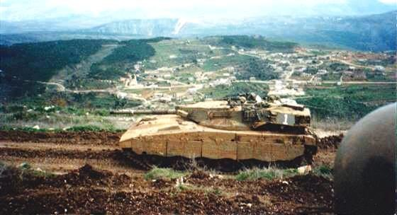 Israeli tank position in Shamis al urqub near Aaichiye sounth lebanon 1997