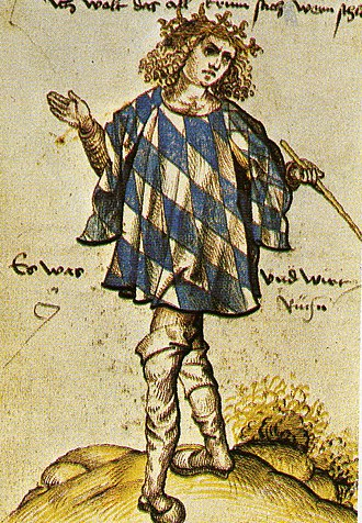 Herald - Bavarian herald Joerg Rugenn wearing a tabard of the Coat of arms of Bavaria, around 1510.