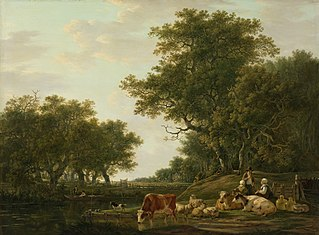 Landscape with Peasants with their Cattle and Anglers on the Water