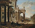 Jan Baptist van der Straeten - Architectural capriccio with a sophisticated group in front of a palace.jpg