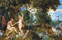 Het aardse paradijs met de zondeval van Adam en Eva (