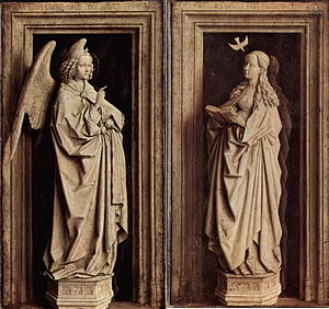 Annunciation (van Eyck, Madrid) - The Annunciation, each panel 39 x 24cm
