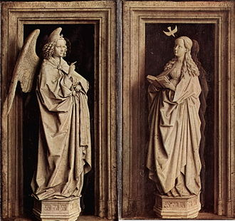 Annunciation (van Eyck, Madrid) - The Annunciation, each panel 39 x 24cm