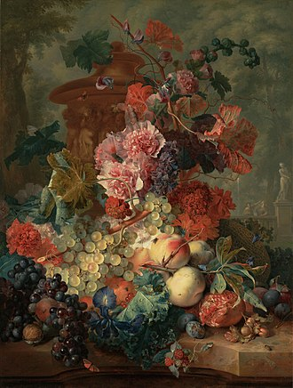 Jan van Huysum -  Jan van Huysum  Fruit Piece, oil on panel, 1722