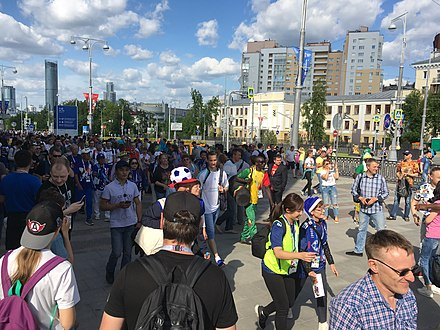 Crowd of fans in Yekaterinburg during the 2018 World Cup Japan-Senegal in Yekaterinburg (FIFA World Cup 2018) 15.jpg