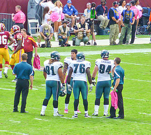 2011 Philadelphia Eagles season - Jason Babin with the Eagles defense in week 6, October 16