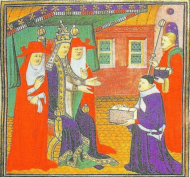 Fichier:Jean d'Andreas presentant spn Commentaires sur les Decretales à Jean XXII.jpg