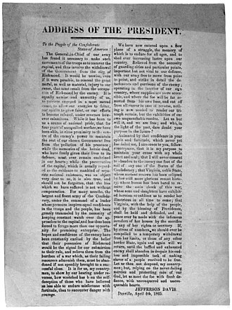 Danville, Virginia - Broadside by President Jefferson Davis announcing move of Confederate capitol to Danville, 4 April 1865