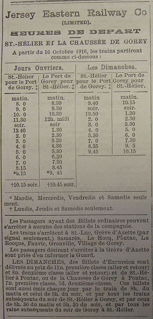 Jersey Eastern Railway - 1916 timetable of services