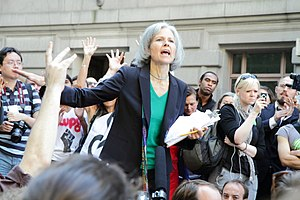 Green Party presidential primaries, 2016 - Jill Stein speaks at an Occupy Wall Street demonstration in September 2012, during her campaign for the presidency as the Green Party's nominee.