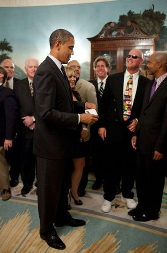 Jim McMahon - McMahon at the White House with President Obama in 2011.