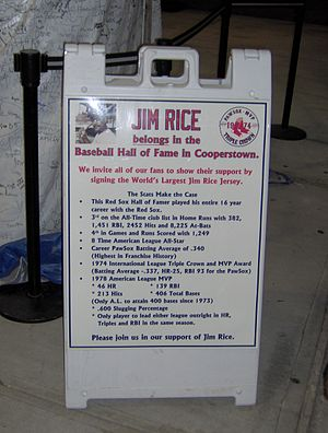 Jim Rice - The sign at McCoy Stadium inviting fans to sign the jersey