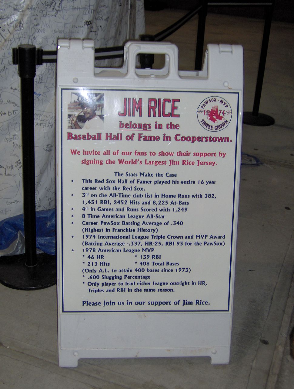 Jim Rice Jersey Sign