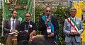 Jimmy Wales, Pietro Pensa and Flavio Polano at Wikimania 2016 closing ceremonies.jpg