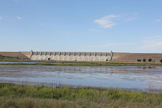 John Martin Reservoir State Park - A view of the dam, near one of the park's campgrounds.