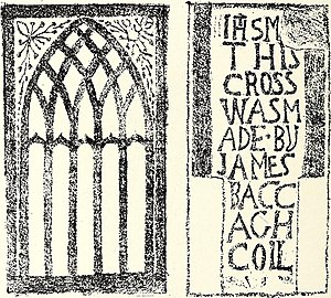 "Claregalway Friary - Tracery window and 18th century tombstone of ""James Baccagh Coll"" (Lame James Coyle)."