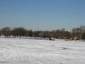 Juniper Valley Park - View of Juniper Valley Park in the winter, facing west towards Manhattan.