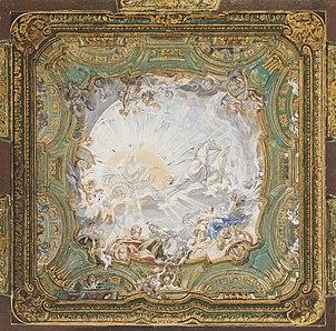 "Juste-Aurèle Meissonnier - ""Chariot of Apollo,"" Ceiling Design for Count Bielinski's Cabinet, Warsaw, Poland - Google Art Project"