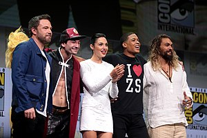 Justice League (film) - Ben Affleck, Ezra Miller, Gal Gadot, Ray Fisher and Jason Momoa at the 2017 San Diego Comic-Con International to promote Justice League.