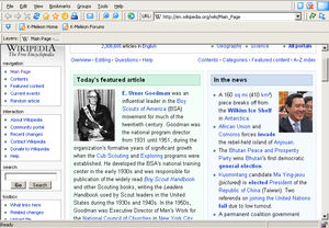 K-Meleon 1.1.4 showing Wikipedia's Main Page