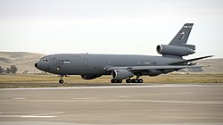 A McDonnell Douglas KC-10 Extender of the 60th Air Mobility Wing at Travis Air Force Base during 2015.