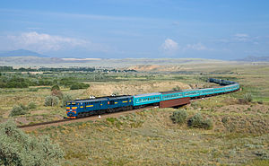 Russian conquest of Central Asia - A train crossing the Kazakh steppe