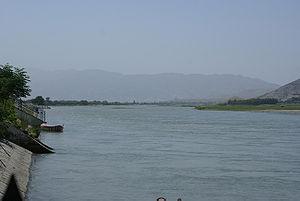 Kabul River - Kabul River in Behsood Bridge Area, Jalalabad - 30 July 2009