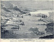 Birds-eye view of the bombardment of Kagoshima by the British Navy, August 15th, 1863. Le Monde Illustré.