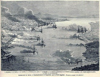 Bombardment of Kagoshima - Bird's-eye view of the bombardment of Kagoshima by the Royal Navy, August 15, 1863. Le Monde Illustré.