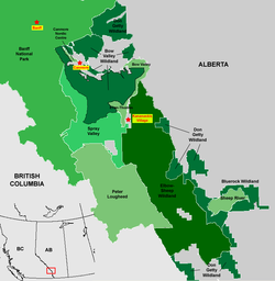 Map showing the location of Sheep River Provincial Park