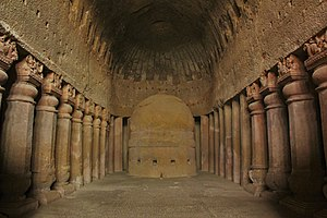 Kanheri Caves - Chaitya hall with stupa, Cave 3