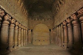 Kanheri Caves - Chaitya hall with stupa, Cave 3