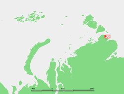 Location of the Komsomolskaya Pravda Islands at the northeastern end of the Taymyr Peninsula