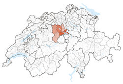 Map of Switzerland, location of ایالت لوسرن highlighted