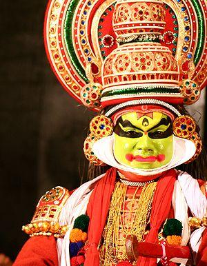 Close-up of a Kathakali performer.