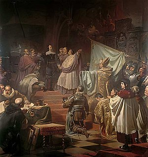 Catholic League (German) - Painting by Karl von Piloty showing the foundation of the Catholic League