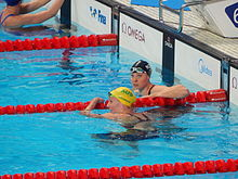 Kazan 2015 - Jessica Ashwood and Lauren Boyle after women's 400m freestyle final.JPG