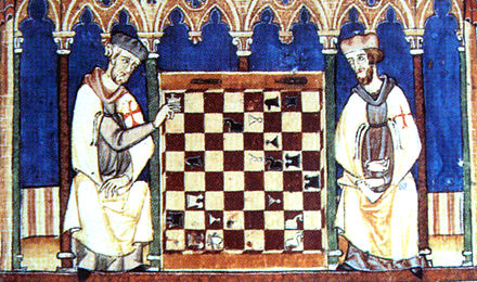 Knights Templar playing chess, Libro de los juegos, 1283 KnightsTemplarPlayingChess1283.jpg