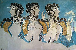 Clothing in the ancient world - Fresco of three Cretan women in the open blouse that was typical in the later Minoan Culture - their skirts would have begun at the waist, were flounced, and of many colorful patterns