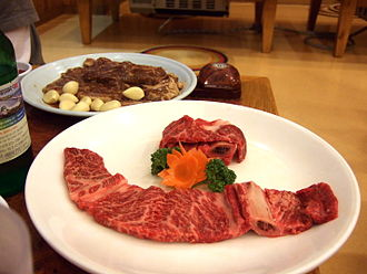 Galbi - Unmarinated saeng-galbi and marinated yangnyeom-galbi made of hanu (Korean native cattle) beef