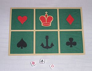 Crown and Anchor - Crown and Anchor playing mat and dice